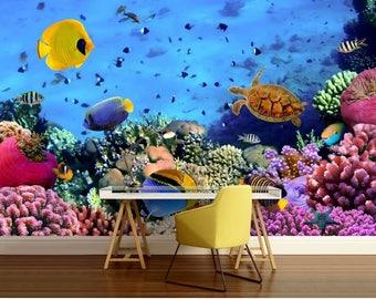 underwater wallpaper, underwater wall mural, corals, fish, underwater world wall mural, peel and stick, water wall mural, peel and stick