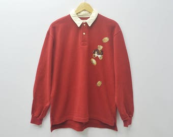 KARL HELMUT Polo Shirt Vintage 90s Karl Helmut Sport Polo Rugby Polo Bear Spell Out Shirt Made In Japan Shirt Size M