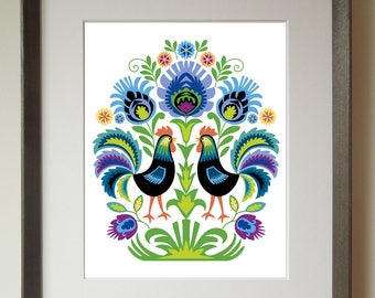 Polish Folk Art Print Roosters in Purple and Black