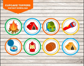 50 Off Sale camping cupcakes toppers instant download, camping Toppers , camping Party Toppers