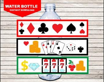 Casino Night Poker Water Bottle Label instant download, Casino Bottle labels, Casino Night Poker Party water Labels