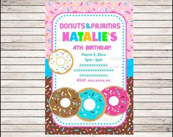 Donut invitation; Donut Birthday invitation, Donut party Invitation Digital File