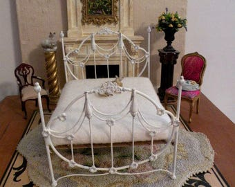 """Artisan Made Dollhouse Miniature Wrought Iron Look Bed """"EDWINNA"""" 1:12 Scale Twin and Full, Half Scale"""