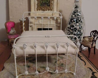 "Artisan Made Dollhouse Miniature Wrought Iron Look Bed ""SUMMERWIND"" 1:12 Scale Twin and Full, Half Scale"