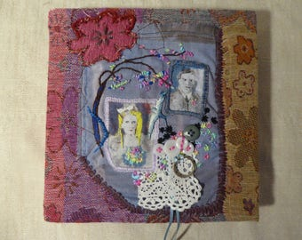 "Textile Picture Embroidery/Collage ""Faded"" -Recycled Materials"