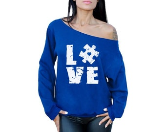 Love Autism Puzzle Sweatshirt. Off The Shoulder Autism Awareness Tops for Women. Autism Mom Gifts.