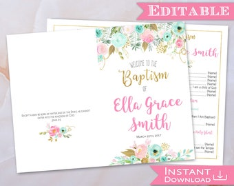 Baptism Program Editable PDF Foldable Girl Pink Mint Gold Watercolor Flower Digital Print LDS Baptism Printable Folded Digital Print Art