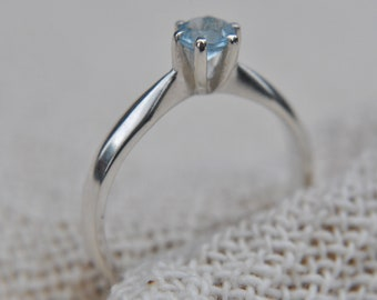 Aquamarine Sterling Silver Ring Hallmarked