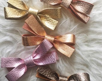 Leather Bow Headband | Leather Bow - 5 Colors, Baby Headband, Leather Bow, Baby Bow, Baby Bow Headband, Nylon Headband