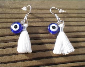 Evile Eye Tassel Earrings, Tassel Charm Earrings, Jewelry Findings
