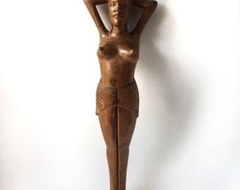 Vintage Topless Wooden Nutcracker | Lawter & Company Nutcracker Made in Philippines | Beautiful Nude Woman Nutcracker