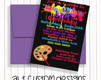 Painting Party Invitation - Art Party Invitation - Art Birthday Party Invitation - Art Themed Party, Paint Party Invites - Painting Party