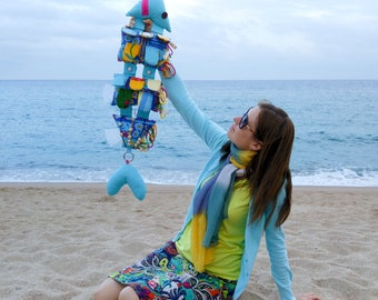"Developing toy from the fabric ""Fish"". Textile toy .  Educational Sensory Toy for  Baby.  Gift for Kids"