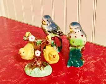 Antique 2 Sets of Unique Salt and Pepper Bird Shakers