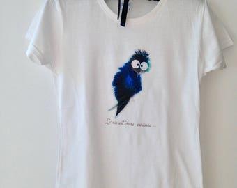 T-shirt for girls with bird blue PluminoOz