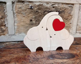 Wooden Elephant Love Ornament