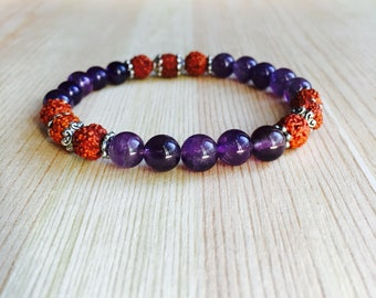Amethyst and Rudraksha Bracelet. Mala Bracelet, Yoga beads, Japa Mantra and Prayer beads for Peace and Healing. Powerful and uplifting
