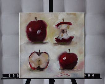 Picture on canvas Oil Paintings Apples Abstraction Live fruit Cool picture