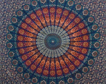 Mandala Tapestry Ombre Wall Hanging | Blue Ombre Mandala Tapestry | Boho Hippie Tapestry | Ombre Tapestry Wall Decor | Tapestry Curtains