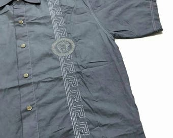 Vintage Versace Embroidery Medusa Shirt Button Ups God Condition