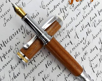 Mozambiquan Brown Ivory wood Fountain Pen in Chrome (945)