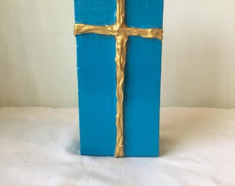 Turquoise Cross Decor, Cross Art, Cross Painting
