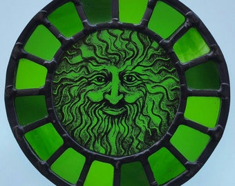 Greenman circular stained glass hand painted panel