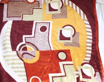 Very Large Vintage Scarf in Bold Geometric Mod Pattern