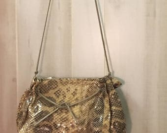 1980's vintage  carlos falchi   genuine snake skin cross body drawstring slouch bag