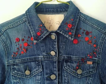 Scattered Roses and Poppies Hand Embroidered Denim Jacket