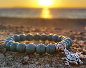 Turquoise Beaded Turtle Bracelet, Women's Jewelry