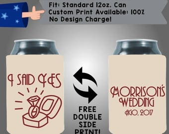 I Said Yes! Last Name Wedding, Date -  Collapsible Fabric Wedding Cooler Double Side Print (W361) 100% Custom