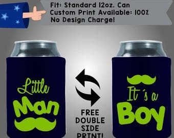 Little Man It's A Boy Mustache Collapsible Neoprene Baby Shower Can Cooler Double Side Print (BS21)