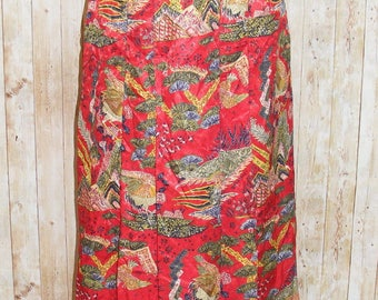 Size 10-12 vintage 80s sewn down pleat long skirt silky red chinese print (HJ56)