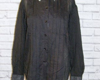 Size 18 long sleeve lace collar pleated front blouse black polkadot (HY22)
