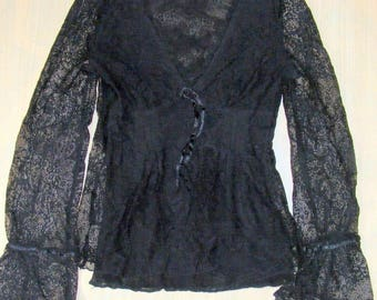Size 8 vintage 90s long sheer sleeve v neck party top black stretch lace (HQ50)