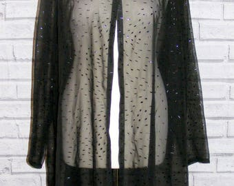 Size 14 vintage 90s long sleeve swing shirt/jacket embossed sheer black (IB12)