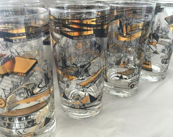 "Vintage Barware ""Construction"" Tumblers set of 8"
