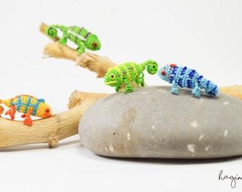 Micro crochet Chameleon, miniature Chameleon, tiny amigurumi animals
