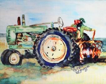 Tractor wall decor, Farmhouse decor, Country home, wall decor, Ceramic tile, Farm wall art, wall art tiles, Tractor art, tractor print