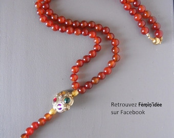 Necklace red carnelian and Pearl Gold