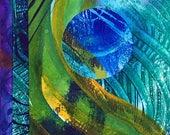 "Miniature Collaged Art Card. ""Inner Space 15"" . Original Abstract Art Card"