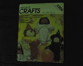 McCall's Crafts pattern 2206- Soft Sculptured Doll Clothes-copyright 1985
