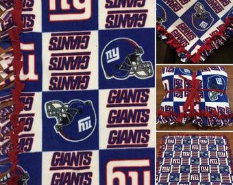 LARGE NY Giants NFL Handmade Fleece Tie Blanket | 55x65 | New York Giants Football Blanket | Ny Giants Blanket Football Fan