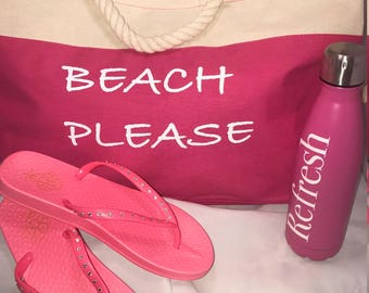 "Pink Canvas ""BEACH PLEASE"" Tote"