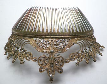 """Antique Victorian Hair Comb Ornate Gilt Silver Vermeil Wire Work 5"""" 1800s Indian for British Export Market BRIDAL"""