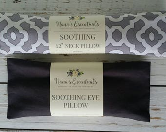 Cotton 12 inch Neck Pillow and Eye Pillow - Lavender  - Hot or Cold Compress - Aromatheraphy - Spa like - Yoga - Flax seed - Comforting gift