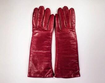 Bloomingdale's burgundy leather gloves