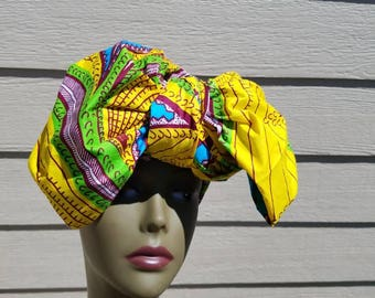 Yellow African Print Headwrap;Yellow African Headwrap; African Clothing; African Fabric Headwrap; African Scarf; Headwrap; Head tie