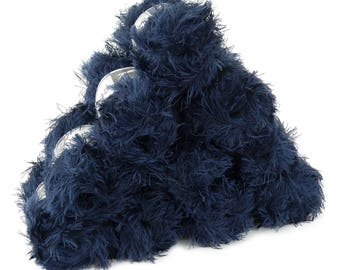 10 x 50 g effect yarn LEA with fringes, #094 dark blue